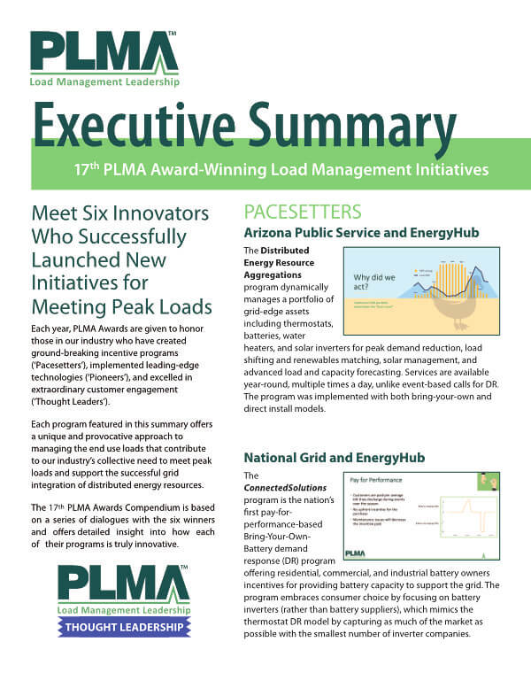 17th PLMA Award-Winning Load Management Initiatives Cover